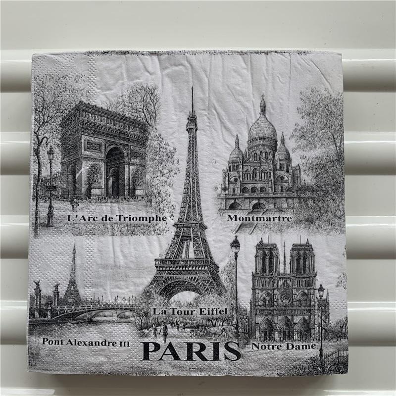 Decoupage Wedding Vintage Napkins Paper Elegant Tissue Tower Church Paris  Stamp Craft Birthday Party Beautiful Serviettes Decor