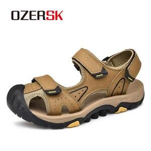 Image 1 - OZERSK, novedad de verano, sandalias para hombre, zapatos de verano a la moda, sandalias casuales transpirables impermeables, zapatos para caminar en la playa, talla 38 ~ 46