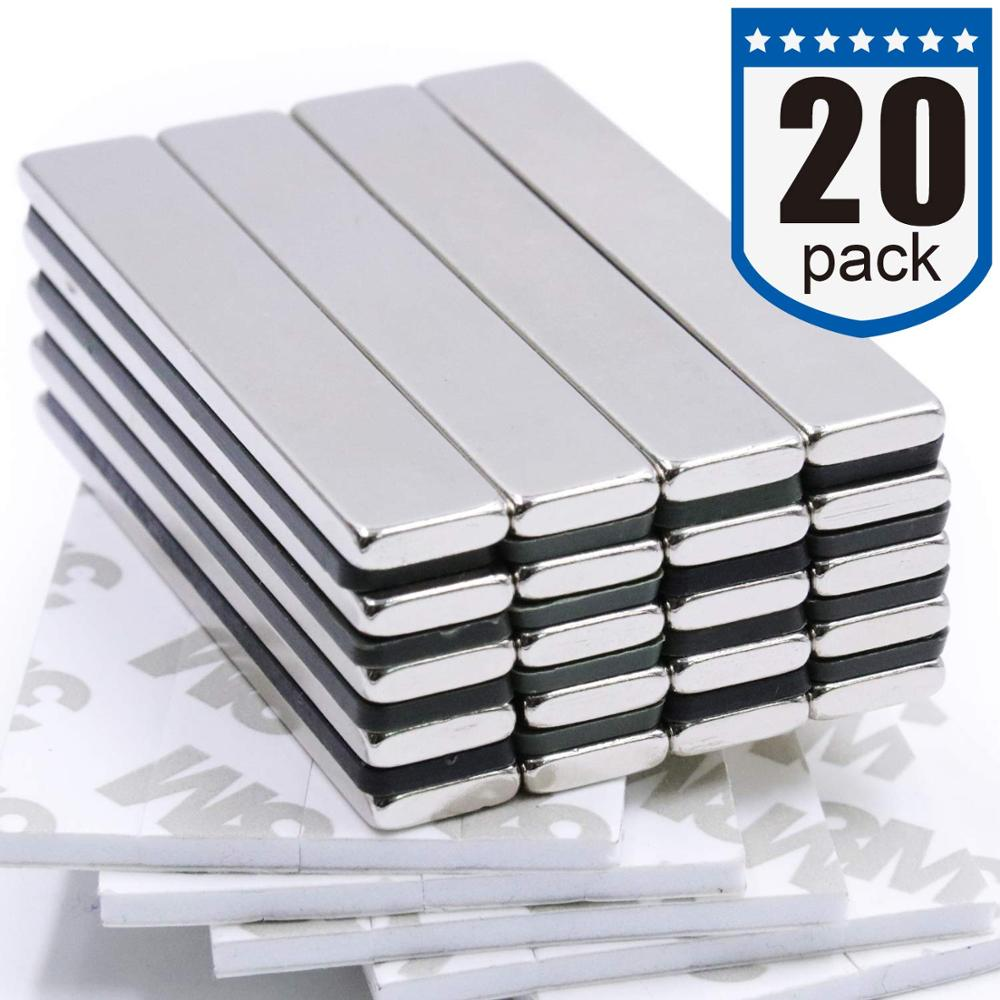 10Pack Strong Neodymium Bar Magnets with Double-Sided Adhesive 60 x 10 x 3 mm Rare-Earth Metal Neodymium Magnet