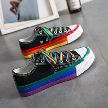 Summer New Platform Rainbow Canvas Shoes Women Casual All match Korean Style Walking Sport Shoes Trendy Shoes Ladies Sneakers