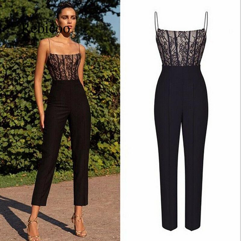 2019 new women's explosion sexy lace sling sleeveless   jumpsuit