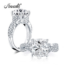 AINUOSHI Fashion 925 Sterling Silver 5.0 Carat Cushion Cut Engagement Ring Simulated Diamond Wedding Silver Ring Jewelry Gifts(China)
