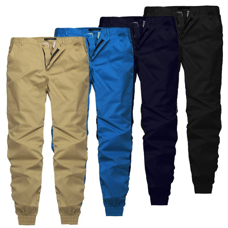 2019 Summer Autumn Plain Pants Men Casual Chinos Trousers Joggers Slim Fit Man Chinos Pants With Elastic Cuff Trousers
