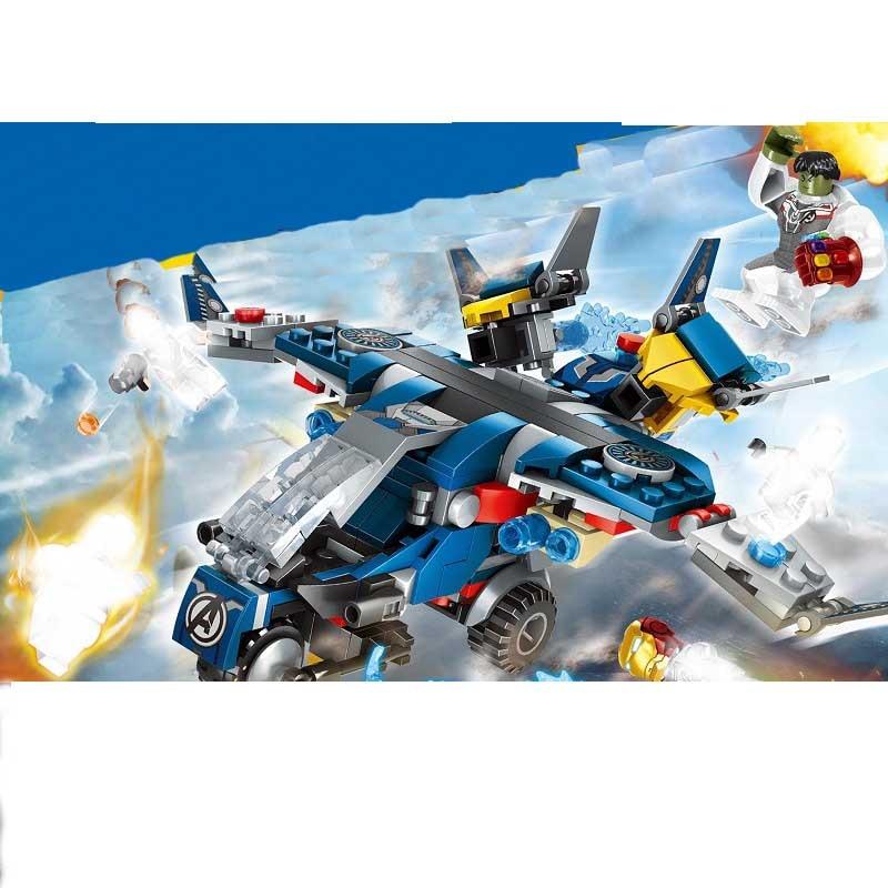 4pcs Avengers 4 Ultimate Quinjet Iron Man Hulk Building Blocks Bricks Boy Toys