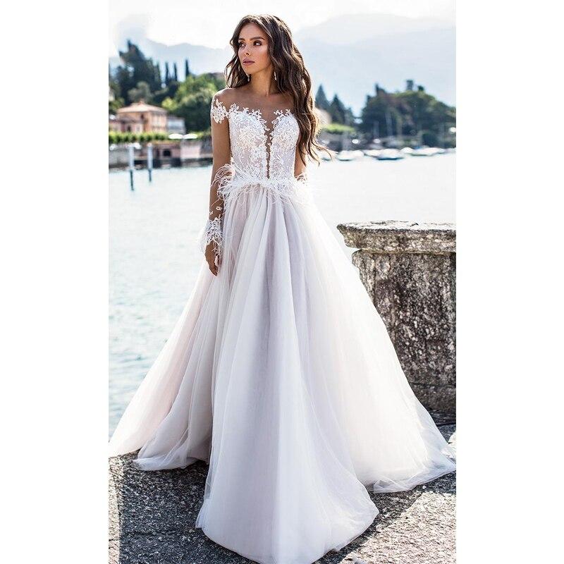 Verngo A-line Wedding Dress Backless Light Purple Wedding Gowns Elegant Bride Dress Vestido De Casamento 2020