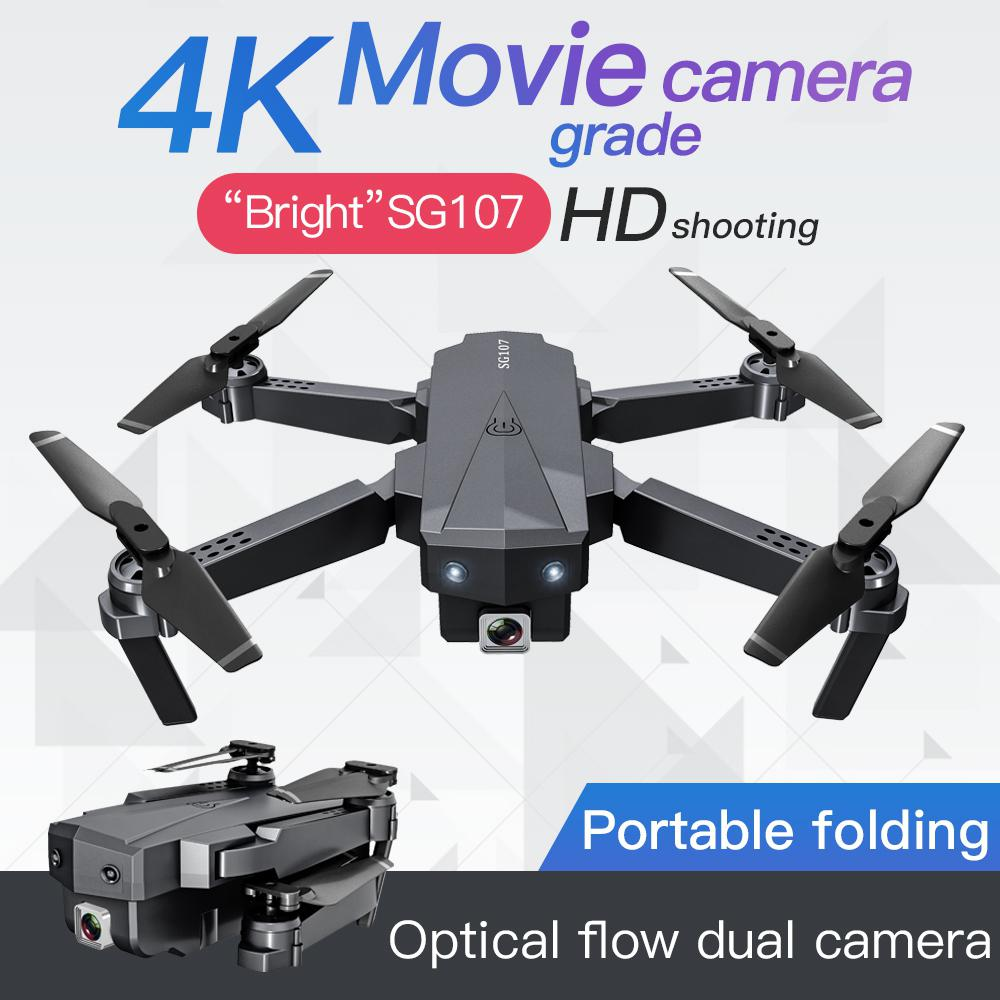RC Quadcopter SG107 Folding Drone 2.4G Wifi 4K HD Aerial Optical Flow Remote Control Plane Quadcopter Flying Across Mini Drone