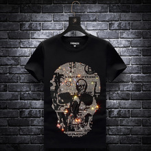 Plus Size 2020 Skull Rhinestones T Shirts Men Summer Clothes