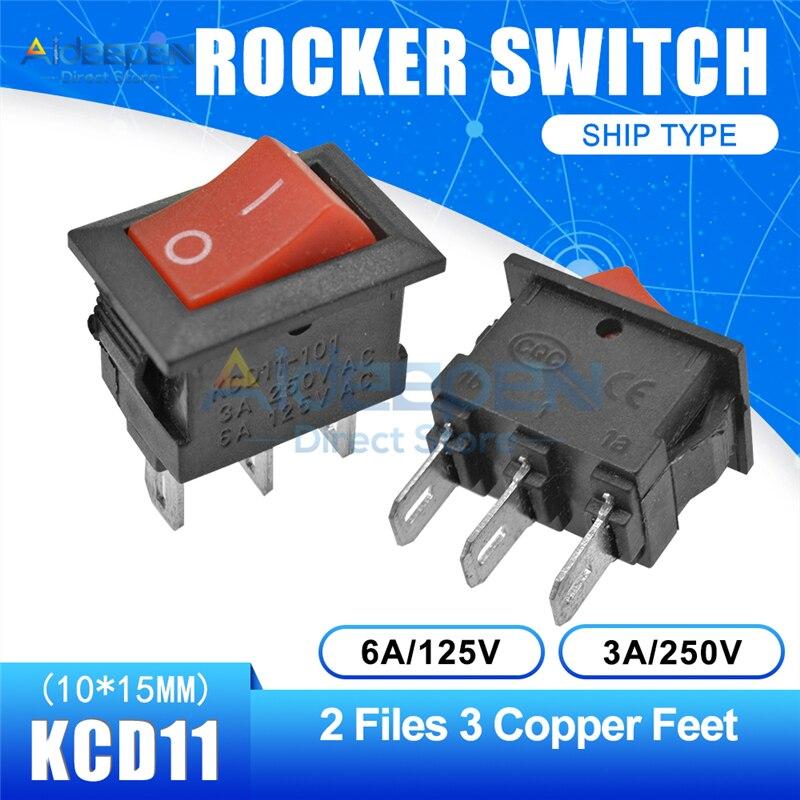 KCD11 10x15 мм кнопочный переключатель оснастка ВКЛ-ВЫКЛ 2 файла 3 файла 2/3 медные ножки лодка кулисный переключатель 10 мм* 15 мм 6A/125 В 3A/250 В - Цвет: Red 2-3P Straight