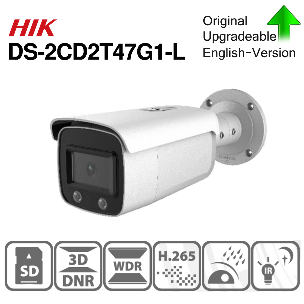 Hikvision ColorVu Original IP Camera DS-2CD2T47G1-L 4MP Network Dome POE IP Camera H.265 CCTV Camera SD Card Slot