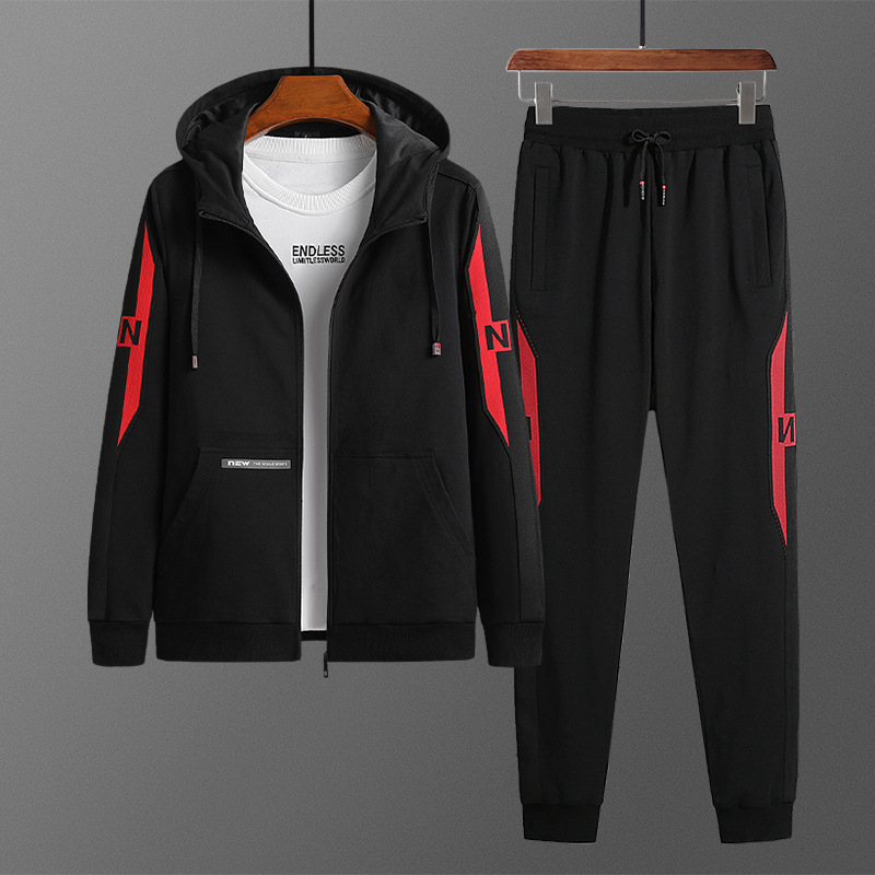 Hoodie Suit Young MEN'S Spring And Autumn Plus-sized Sports Casual Two-Piece Set Cardigan Zipper Collar Coat Popular Brand