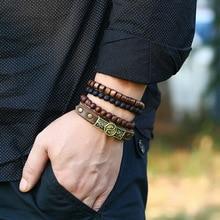 4 Pcs/set Wood Beads Charm Handmade Woven Men Leather Tai Chi Bracelets Women Vintage Bangle Male Homme Jewelry Accessories