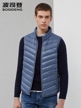 BOSIDENG men down vest 2019 new duck down waistcoat stand collar sleeveless high quality casual wear office B90131003