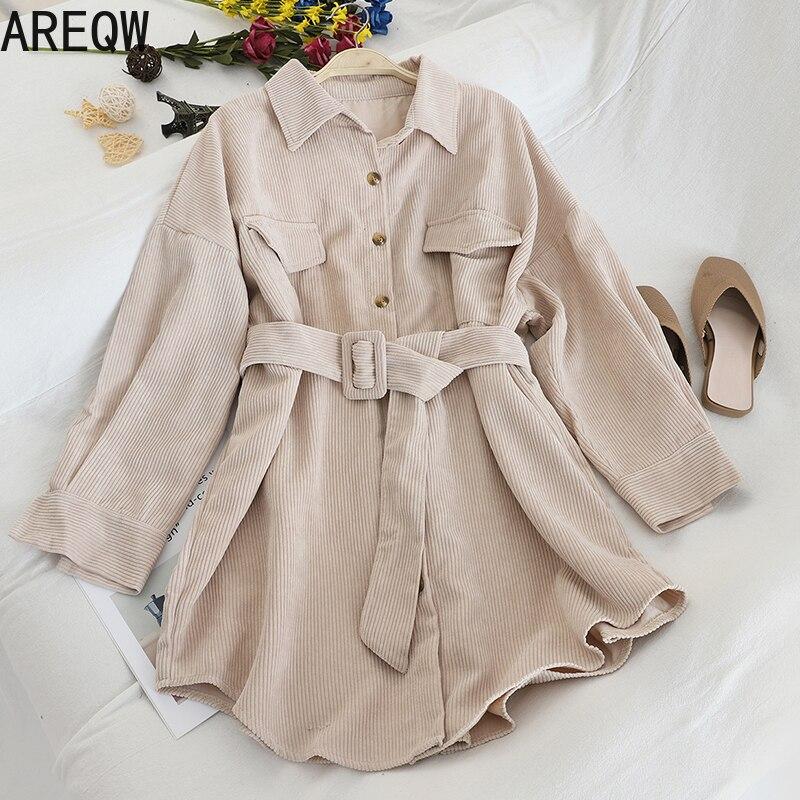 Autumn New 2020 Single-breasted Mid-length Shirt Dress for Women Lapel Corduroy Tops Waist Pocket Women's Clothing