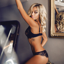 New style sexy underwear European and American foreign trade sexy black lace three-point appeal suit