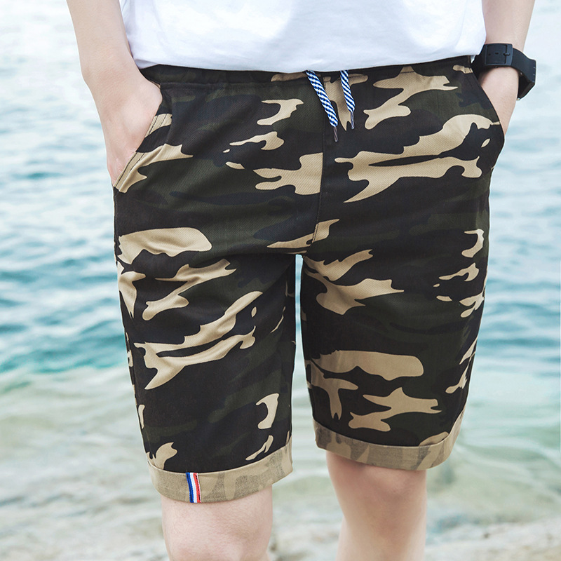 Summer New Style MEN'S Casual Shorts Men's Teenager Fashion & Sports Casual Cotton Linen Camouflage Printed MEN'S Shorts
