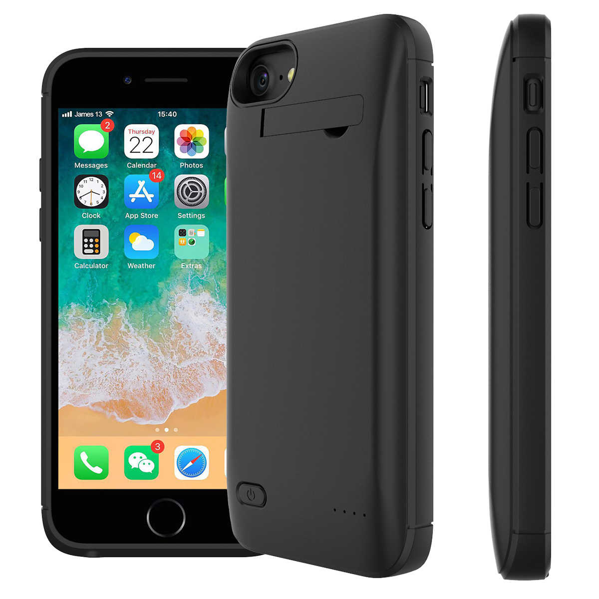 For iPhone 7 8 Plus Battery Charger Case 4000mAh External