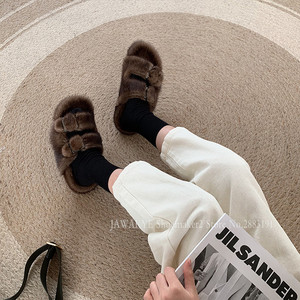 Image 5 - Luxurious Mink Fur Slippers One Strap Flat Feather Slides Outdoor 2020 Spring New Casual Mules Flipflops Coffee Brown Sandals