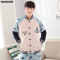 2019 Winter Casual Thick Warm 100% Cotton Pajamas Sets For Men Long Sleeve Cardigan Pyjama Male Homewear Loungewear Home Clothes