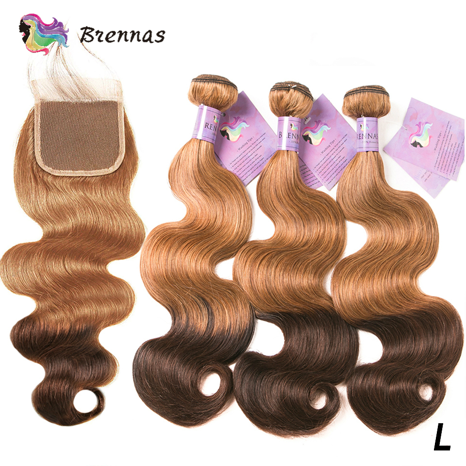 Ombre Body Wave Bundles With Closure 27/4 Honey Blonde Brazilian Hair Weave Extension With 4x4 Lace Closure Non-remy Low Ratio