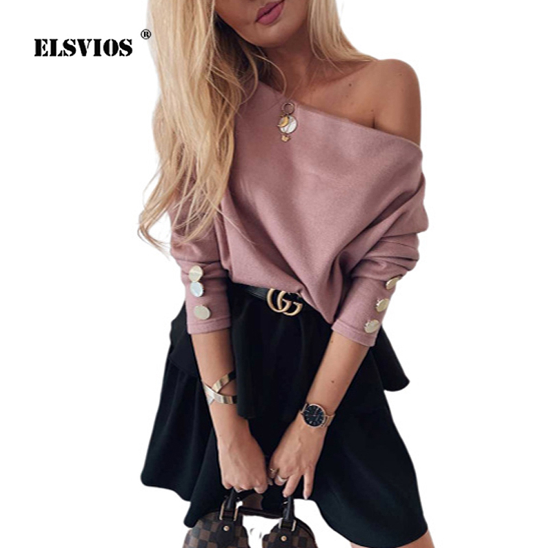 ELSVIOS Women Sexy Slash Neck Knitted Sweater Autumn Winter Off Shoulder Long Sleeve Button Pullover Femme Solid Streetwear Tops