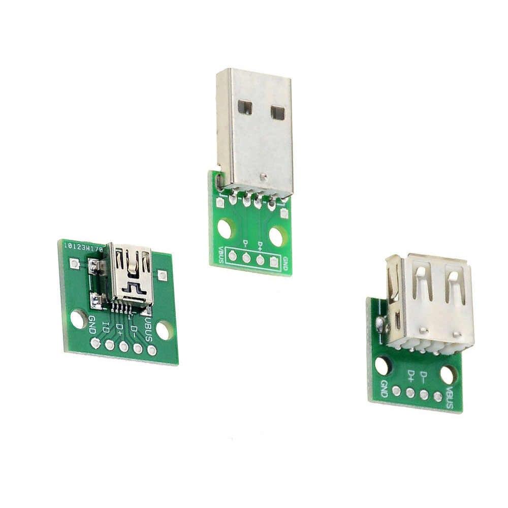 Mikro Mini USB USB A MALE USB 2.0 Female USB B Konektor Antarmuka untuk 2.54 Mm DIP PCB Konverter adaptor BREAKOUT BOARD