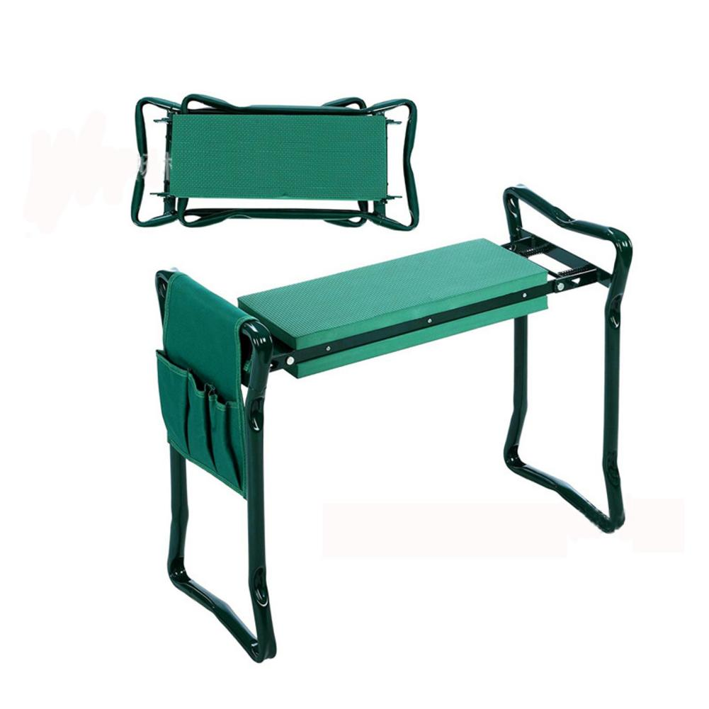 Garden Kneeler Pad With Small Cloth Bag Folding Stainless Steel Garden Stool With EVA Kneeling Pad Gardening Tool Gifts Supply|  - title=