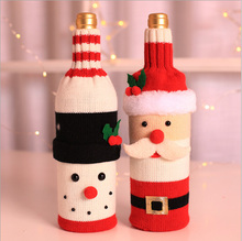 New Creative Christmas Decoration Knitted Wool Red Wine Bottle Bag Bar Restaurant Cover new