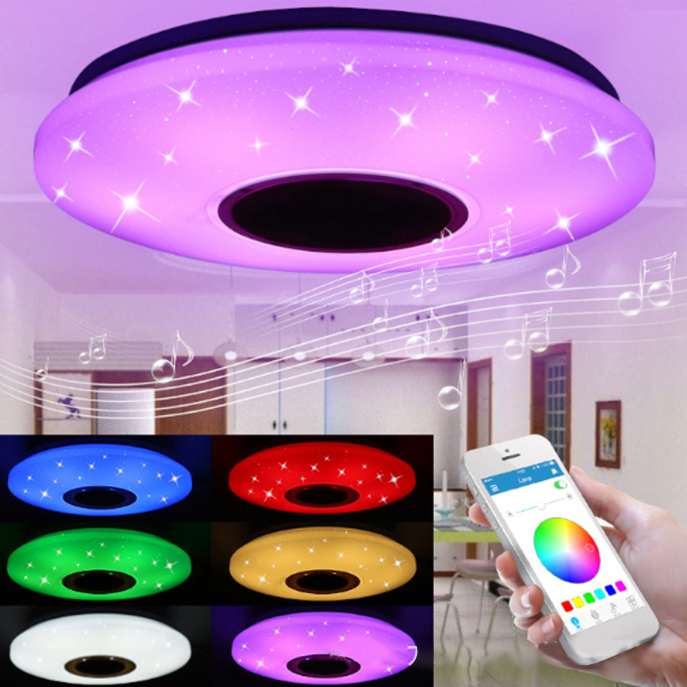 HOT Music Bluetooth Speaker Led Ceiling Light Lamp With 36W Rgb Flush Mount Round Starlight Music Dimmable Color Changing Light