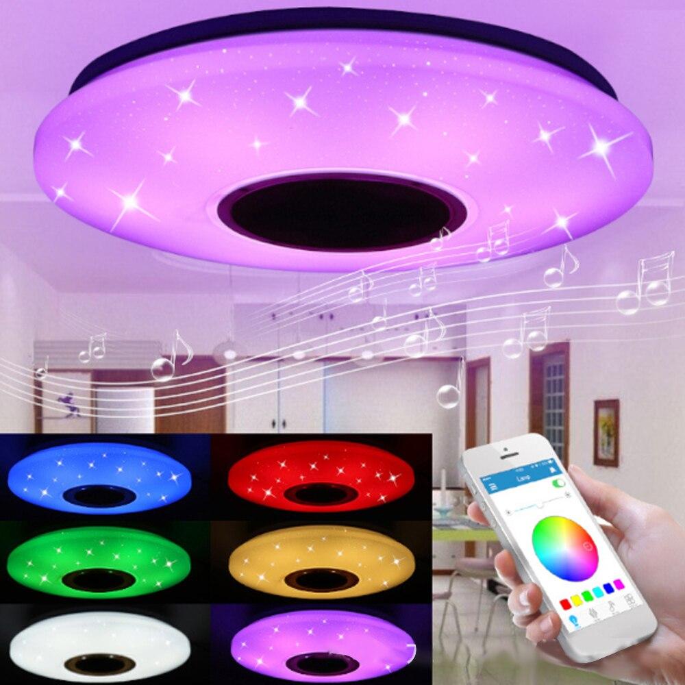 Música quente alto-falante bluetooth conduziu a lâmpada de luz teto com 36 w rgb montagem embutida redonda starlight música pode ser escurecido cor mudando a luz