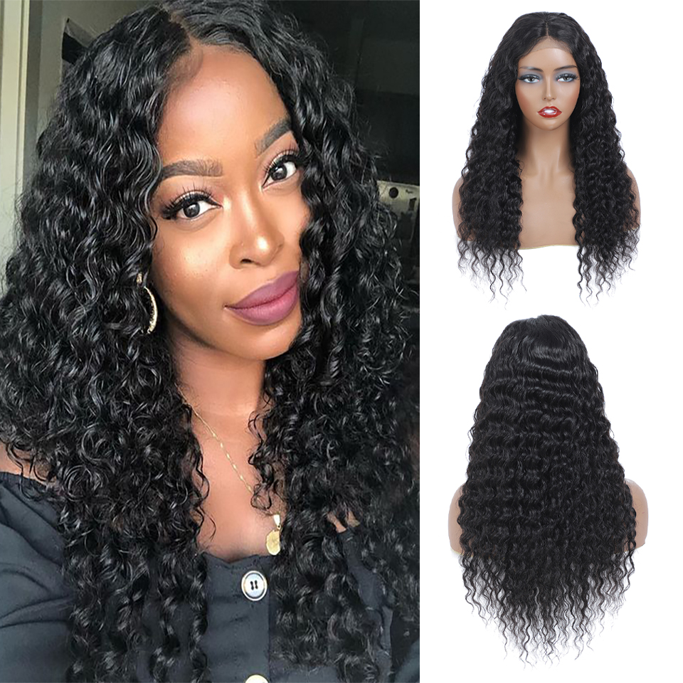 4x4 Lace Closure  Wigs  Water Wave Wig Part Lace Wig  Pre Plucked  Deep Curly Wig Natural Color 1