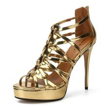 Women Sandals High Heels Summer Fashion Peep Toe Gold Ladies Shoes Sexy Heel Party   Platform Sandals Sandalias Big Size 39-50 asumer gold light purple fashion summer ladies prom shoes peep toe buckle elegant super high women high heels sandals size 44