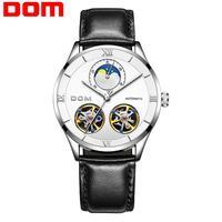 DOM 기계식 시계 남성 해골 시계 자동 기계식 남성용 가죽 시계 방수 자동 태엽 시계 M-1270BL-7M