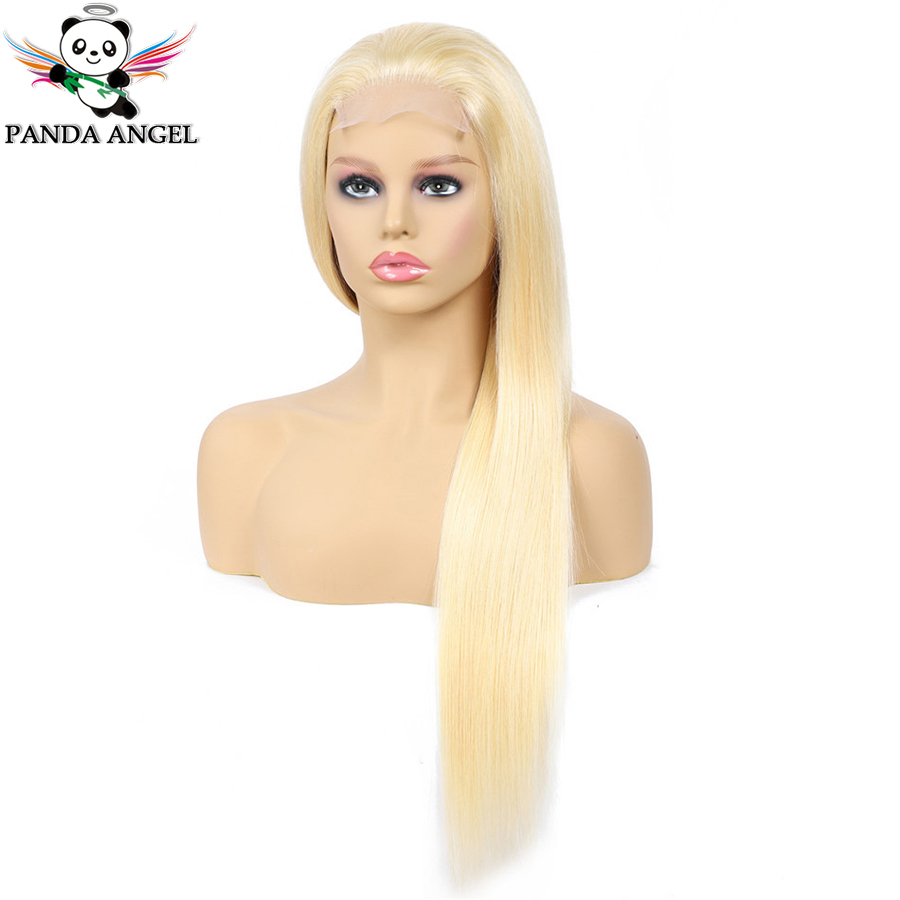 He79d0e4056e9442aa3a0aeeaeea2f947w Panda 4x4 Honey Blonde Lace Wigs #613 Brazilian Hair Ombre Straight Lace Closure Wig 150% Density Blonde Human Hair Wigs Remy