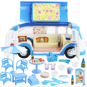 Image 4 - Kids Cute Mini Camper Car Simulation Plastic Pink Motorhome  Vehicle Dollhouse Furniture Accessories for Barbie Pretend Play Toy