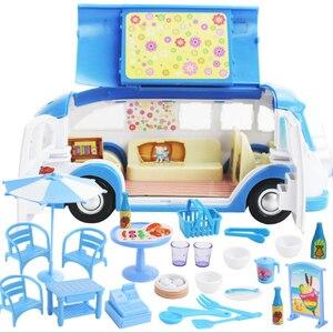 Image 4 - 어린이 귀여운 미니 캠핑카 시뮬레이션 플라스틱 핑크 Motorhome 차량 인형 집 가구 액세서리 바비 인형 놀이 장난감
