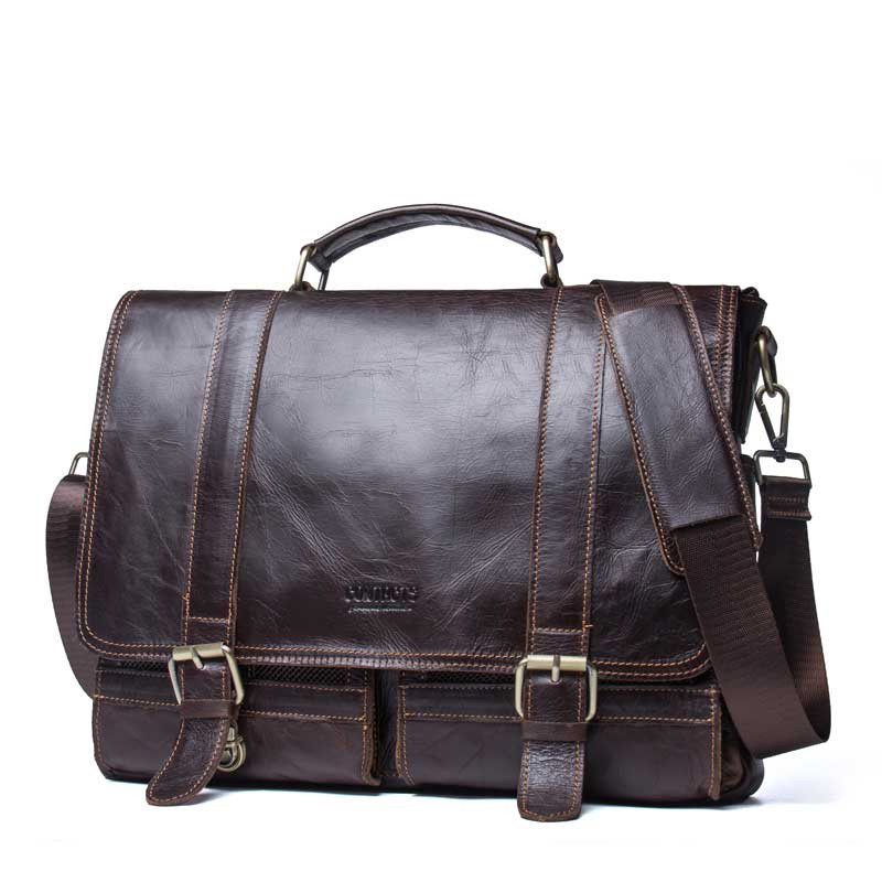 Fashion Men Genuine Leather Briefcase For 14