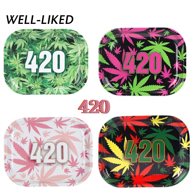 18*12.5 CM Metal Herb Tray Tobacco Rolling Tray Tinplate Plate Discs For Smoke Cigarette Tray Table Paper Rolling Tray
