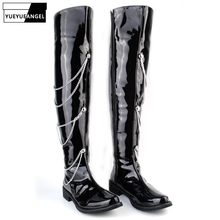 2020 New Rock Punk Style Stage PU Leather Chain Long Boots Men Fashion Black Over-The-Knee Motorcycle Boots Pointed Toe Shoes(China)
