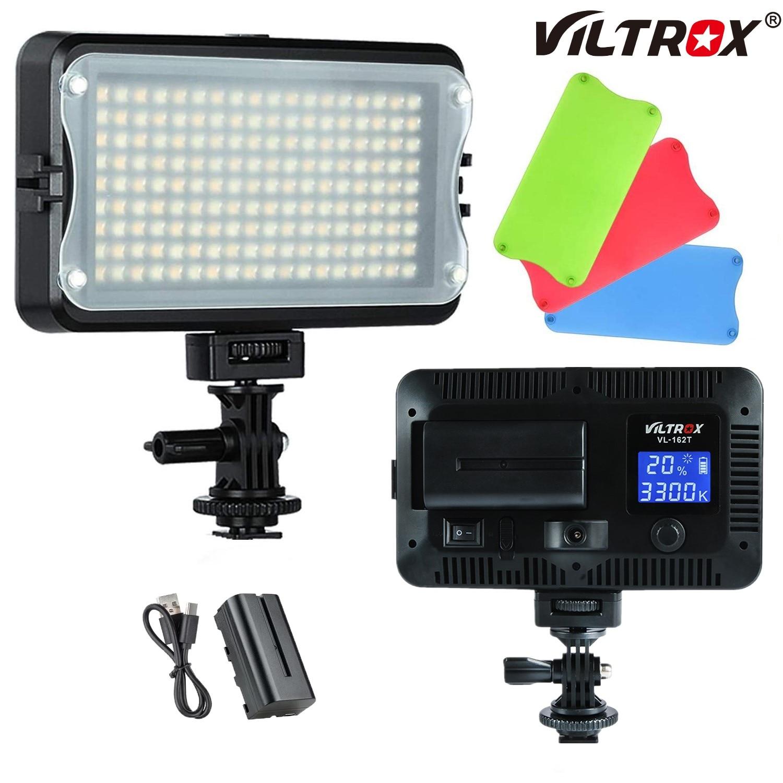 Viltrox VL-162T Камера светодиодные лампы для видеосъемки ЖК-дисплей 3300K-5600K студия Панель Bi-Цвет Затемнения + Batteryr для цифровой зеркальной камеры ...
