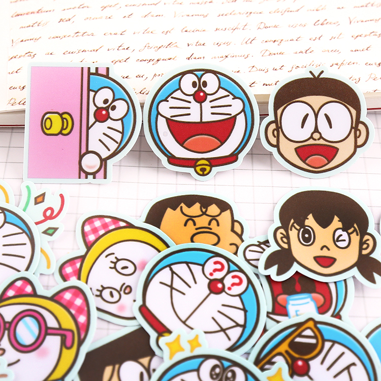 40pcs Doraemon Homemade Expression Stickers For Fashion Laptop Snowboard Home Decor Car Styling Decal Fridge Doodle Kid Toy