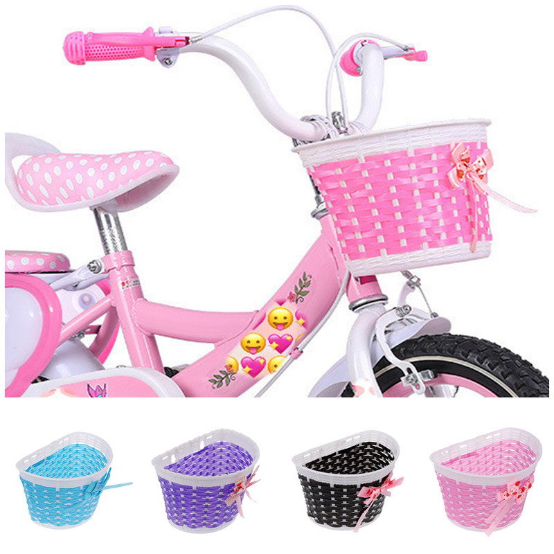 Children Bicycle Storage Scooter Handle Bar Carrier Bicycle Basket Front Bag Rear Cycling Hanging Panniers Bike Bowknot