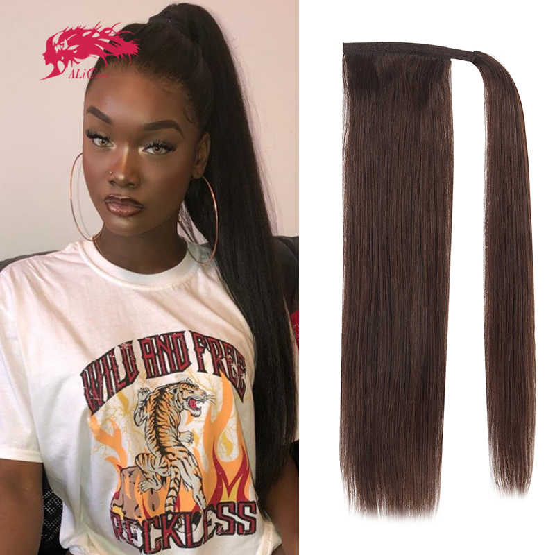 Drawstring Ponytail With Clip In Human Natural Hair Extension Women Hairpiece Straight Wrap Around Tai Brazilian Remy Hairstyle