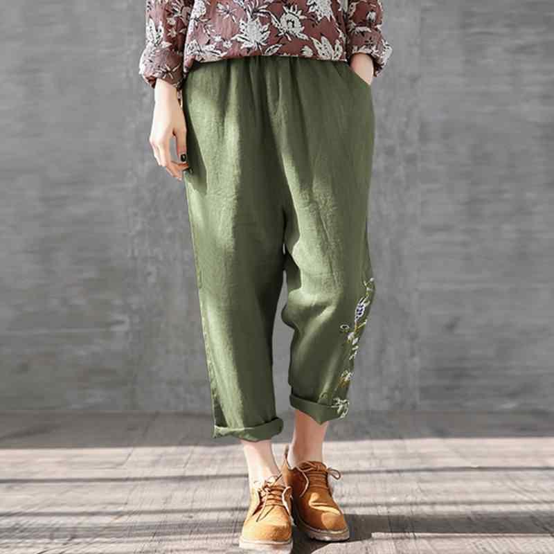 Zanzea verão calças femininas cintura elástica impresso calças compridas casual solto nabo pantalon palazzo algodão linho harem calças