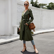 Autumn Trench Coat for Women Sashes Bandage Oversize Temperament Vintage Overcoa