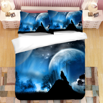 3D Wolf bedding sets cartoon duvet cover sets blue luxury animal quilt cover single twin full queen king fashion bedclothes