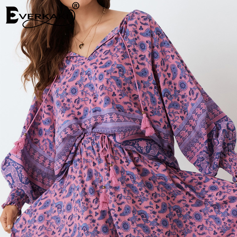 Everkaki Boho Print Women Blouse Top Shirts Summer Tassels Gypsy Ladies Vintage Blouses Tops Casual Female Loose 2020 Spring New