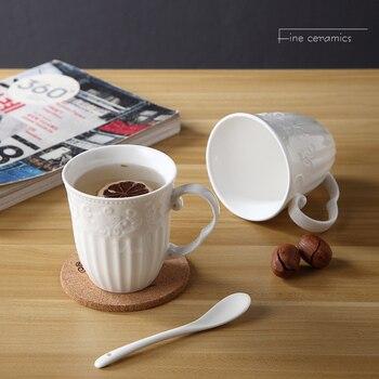 350ML, taza de café de porcelana en relieve blanca, taza de tazas...