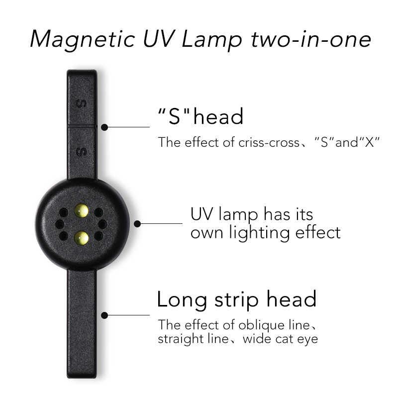 1 lámpara UV magnética 3W dos en uno negro blanco rosa palo magnético multifunción cable USB Mini esmalte de Gel para uñas