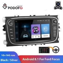 "Podofo 2 DIN 7 ""Android 8.1 araba radyo GPS multimedya oynatıcı navigasyon ford focus için EXI MT 2 3 mk2/Mondeo/S MAX/C MAX/Galaxy"