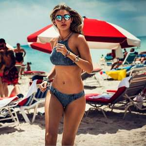 New women's split bikini swimsuit suit denim